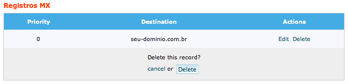 remoção de registro MX